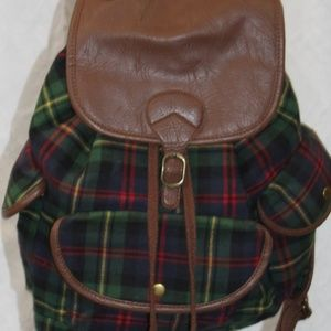 Mossimo Green Plaid Backpack